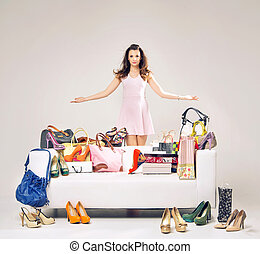 女性買い物, 彼女, 提示, 若い, 魅力的