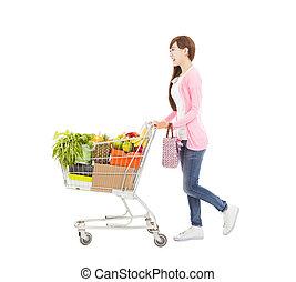 女性買い物, 若い, カート, 幸せ