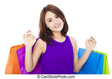 女性買い物, 若い, 隔離された, アジア人, 保有物, 白, bag.