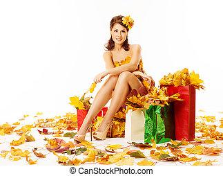 女性買い物, 葉, 秋, 白いドレス, 上に, かえで