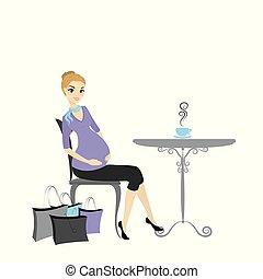 女性買い物, 袋, モデル, テーブル, 妊娠した