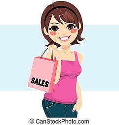 女性買い物, 販売