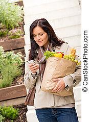 女性買い物, 野菜, 若い, 電話, 食料雑貨, 保有物