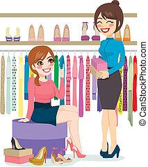 女性買い物, 靴
