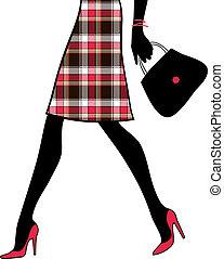 女性買い物, handbag., business., イラスト, ベクトル, セクシー, 足