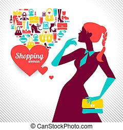 女性買い物, silhouette., 優雅である, デザイン, 流行