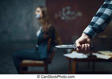 女性, おびえさせている, ナイフ, kidnapper, 犠牲者, マニア