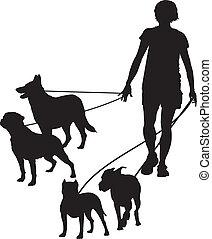 女性, そして, 犬