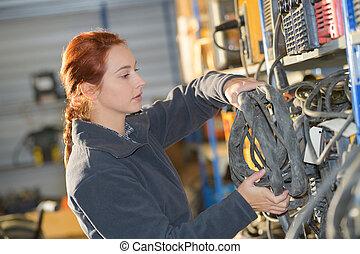 女性, で 働くこと, a, 倉庫