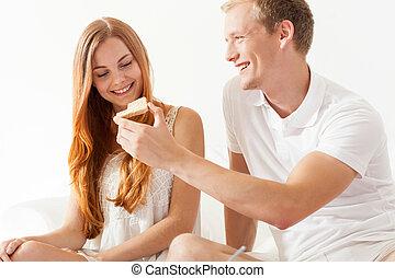 女性 と 人, 共有, トースト, 上に, 朝食