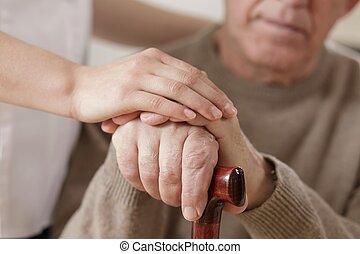 女性 と 人, 手を持つ