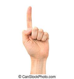 女性, の上, 指すこと, 手