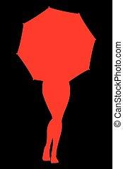 女性, の後ろ, 傘