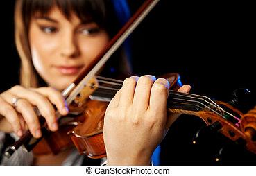 女性, ぼんやりさせられた, バイオリン奏者