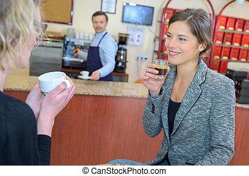 女性, カフェ, 2