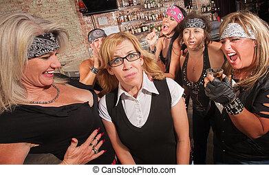 女性, ギャング, 笑い, ∥において∥, nerd