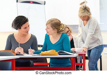 女性, グループ, 成人, クラス