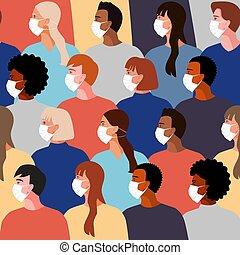 女性, グループ, 男性, 医学, masks.