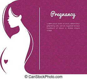 女性, シルエット, 妊娠した