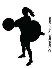 女性, シルエット, 揚げべら, 重量