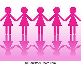 女性, シルエット, 横列, 手を持つ