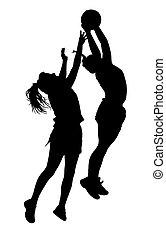 女性, シルエット, korfball, leagu