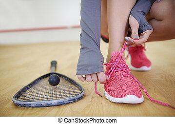 女性, スカッシュ, スポーツ, プレーヤー, 靴, 結ぶこと