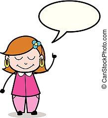 女性, スピーチ, ベクトル, 泡, 漫画