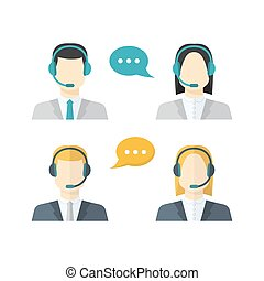 女性, スピーチ, 中心, 色, 呼出し, マレ, 平ら, 泡, テレマーケティング, セット, avatars, 概念, ヘッドホン, アイコン, クライアント, スタイル, サービス, ビジネス コミュニケーション