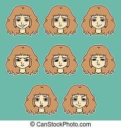女性, セット, emotions., 美顔術, expression.