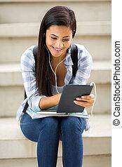 女性, タブレット, コンピュータ, 大学生, 使うこと