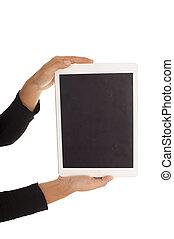 女性, タブレット, 小道具, 隔離された, コンピュータ, 手を持つ, タッチスクリーン