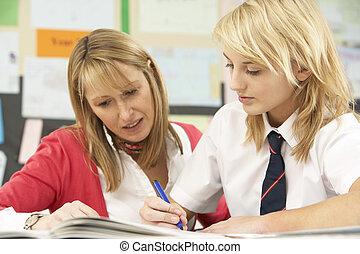 女性, ティーンエージャーの, 学生, 勉強, 中に, 教室, ∥で∥, 教師