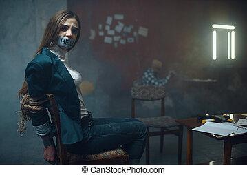 女性, テープに取られた, kidnapper, 犠牲者, 口, マニア