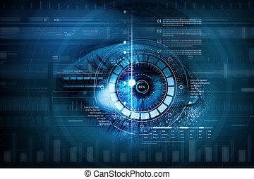 女性, デジタル, 目