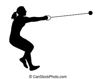 女性, ハンマー, 投げる人