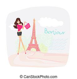 女性, パリ, 美しい, 買い物