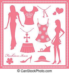 女性, ファッション, セット, アイコン