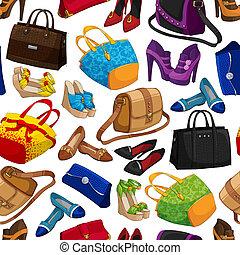 女性, ファッション, seamless, 壁紙, 付属品