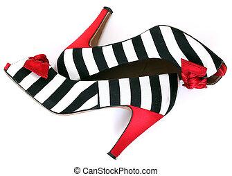 女性, ファッション, shoes., シマウマ, pattern., 赤, かかと
