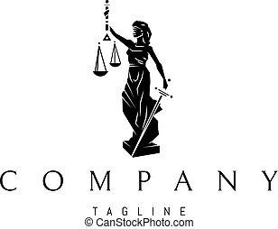 女性, ベクトル, 正義, ロゴ, デザイン, 黒, 像