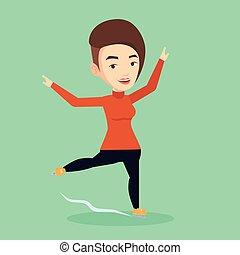 女性, ベクトル, illustration., 図 スケート選手