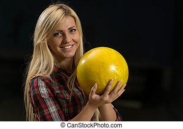 女性, ボール, 保有物, ボウリング