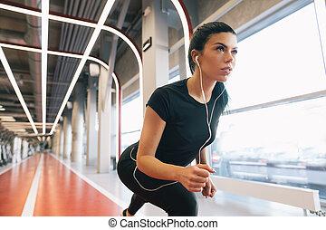 女性, ポジション, run., 運動選手, sprint., 女, 準備ができた
