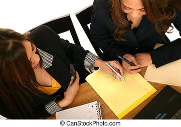 女性, メモ用紙, ビジネス, 執筆