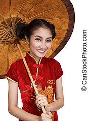 女性, モデル, 傘, 古い, 中国語