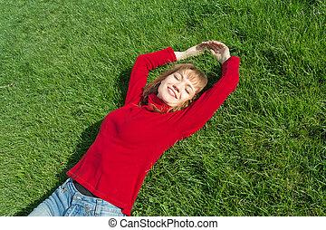 女性, リラックス, 草