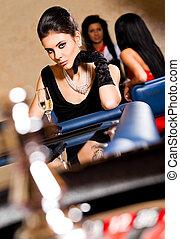 女性, ルーレットテーブル, カジノ, 美しい