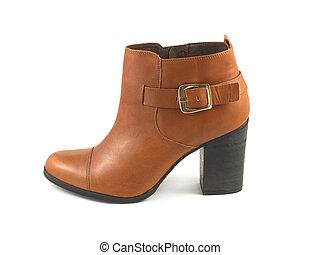 女性, 一半, 靴子, 由于, 高跟鞋