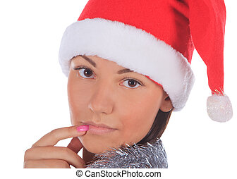 女性, 上に, claus, の上, バックグラウンド。, santa, 終わり, 白い帽子